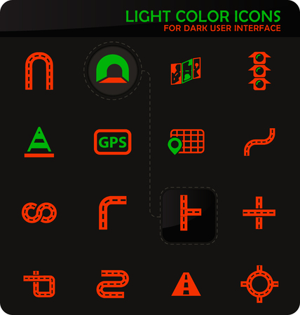 Road easy color vector icons on dark background for user interface design