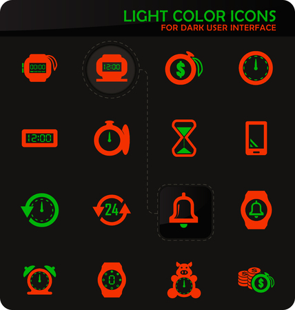Time easy color vector icons on dark background for user interface design Illustration