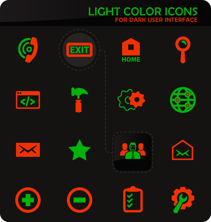 Web tools easy color vector icons on dark background for user interface design