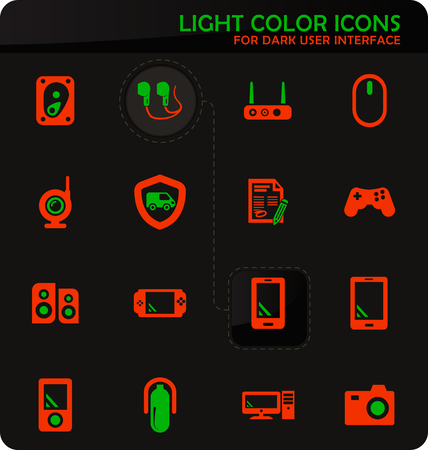 Supermarket electronic easy color vector icons on dark background for user interface design