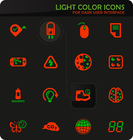 Science easy color vector icons on dark background for user interface design