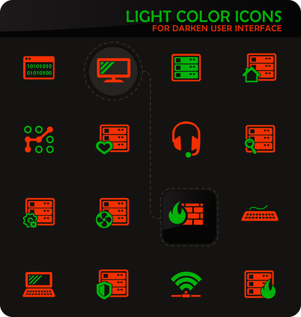 Server easy color vector icons on dark background for user interface design