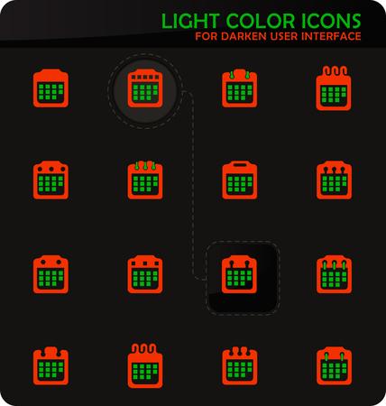 Calendar easy color vector icons on darken background for user interface design
