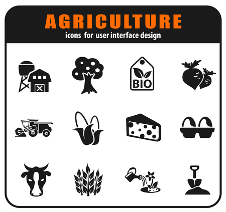 Vector agricultural icons set for user interface design Illustration