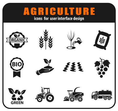 Iconos agrícolas vectoriales establecidos para el diseño de la interfaz de usuario