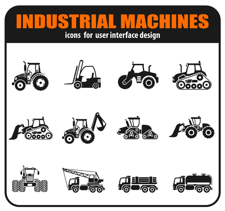 Industrial vehicles icons set with tractor loader paver excavator bulldozer truck isolated vector illustration Ilustração