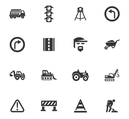 Road repair vector icons for user interface design