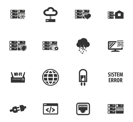 Server web icons for user interface design Иллюстрация