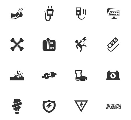 High voltage icons set for web sites and user interface