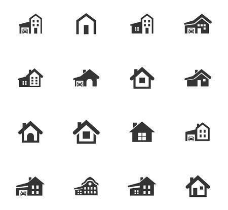 Haustyp-Vektorsymbole für das Design der Benutzeroberfläche