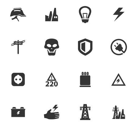 Hochspannungssymbole für Websites und Benutzeroberfläche Vektorgrafik