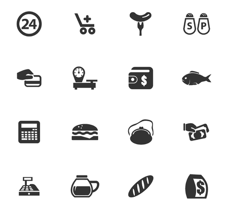 Grocery store vector icons for user interface design Vettoriali