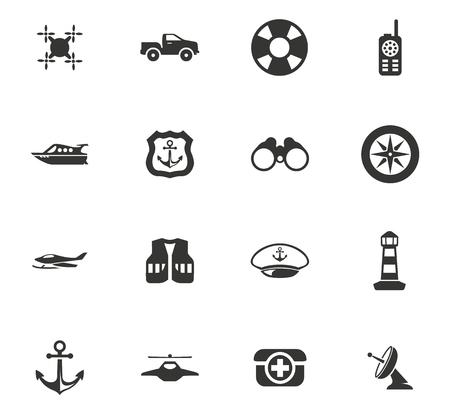 Coast Guard vector icons for user interface design Stock Illustratie