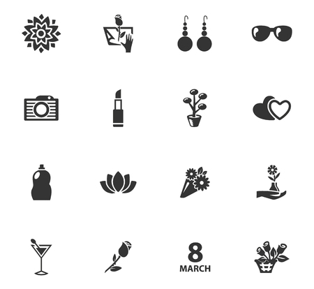 Women's Day vector icons for user interface design