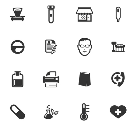 Drug store vector icons for user interface design 向量圖像