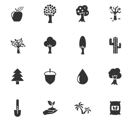 icônes vectorielles d'arbres pour la conception de l'interface Web et utilisateur Vecteurs