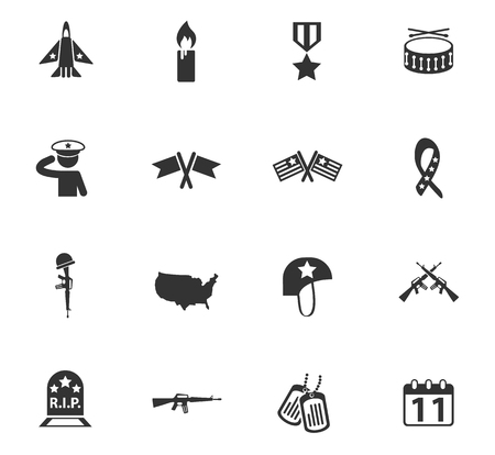 veterans day vector icons for web and user interface design