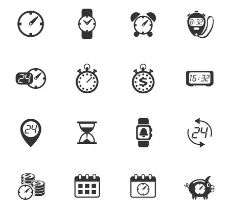 time vector icons for web and user interface design