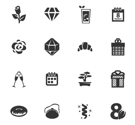 8 March vector icons for user interface design Illustration