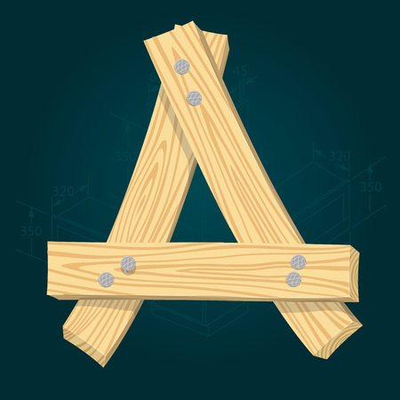 Letter A - stylized vector font made from wooden planks hammered with iron nails.
