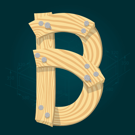 Letter B - stylized vector font made from wooden planks hammered with iron nails.