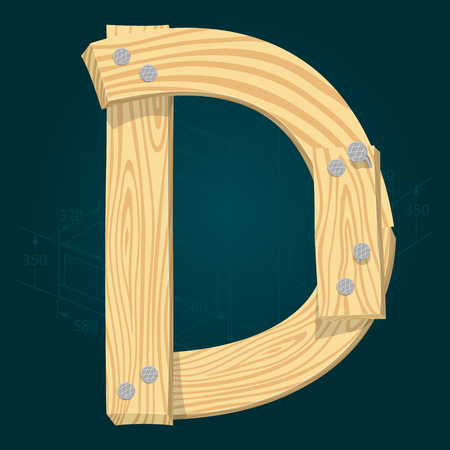 Letter D - stylized vector font made from wooden planks hammered with iron nails.