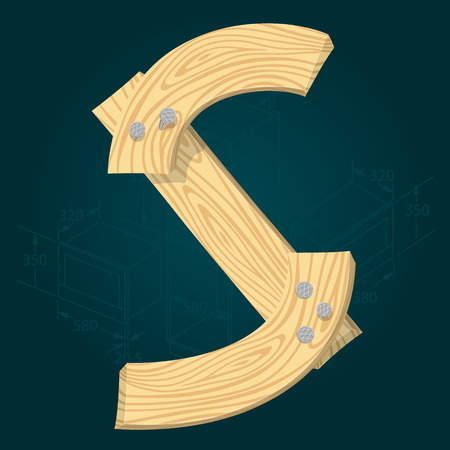 Letter S - stylized vector font made from wooden planks hammered with iron nails.