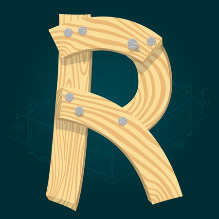 Letter R - stylized vector font made from wooden planks hammered with iron nails. Illustration