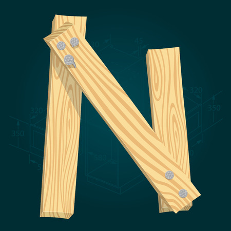 Letter N - stylized vector font made from wooden planks hammered with iron nails.