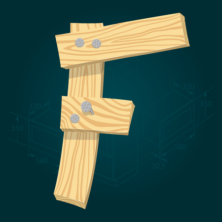 Letter F - stylized vector font made from wooden planks hammered with iron nails.