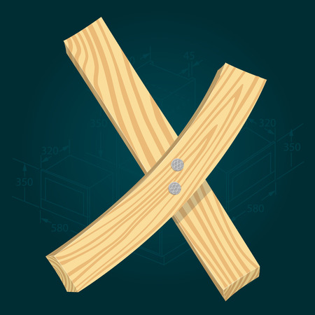 Letter X - stylized vector font made from wooden planks hammered with iron nails. Illustration