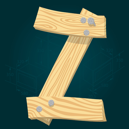 Letter Z - stylized vector font made from wooden planks hammered with iron nails. Illustration