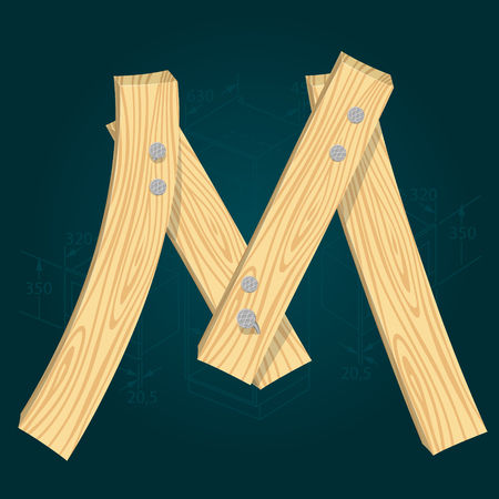 Letter M - stylized vector font made from wooden planks hammered with iron nails.
