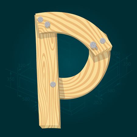 Letter P - stylized vector font made from wooden planks hammered with iron nails. Illustration