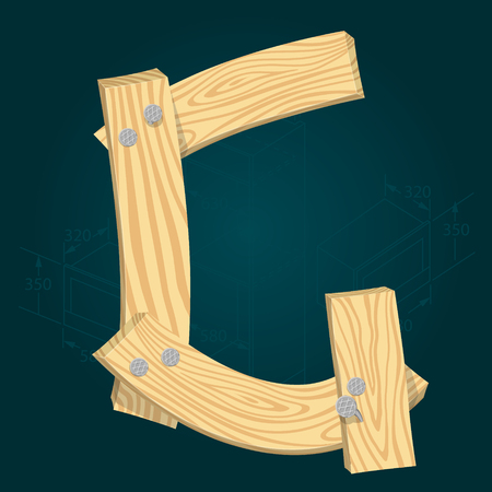 Letter G - stylized vector font made from wooden planks hammered with iron nails. Illustration