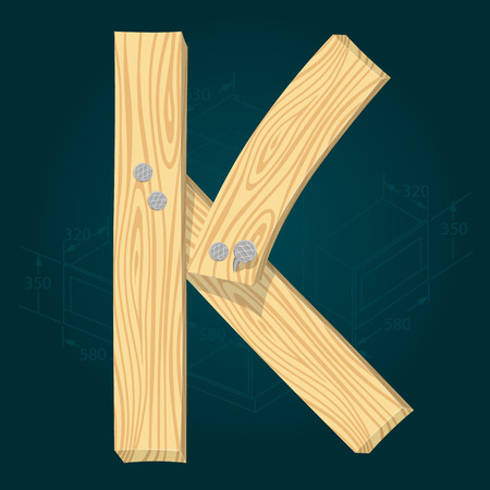 Letter K - stylized vector font made from wooden planks hammered with iron nails.