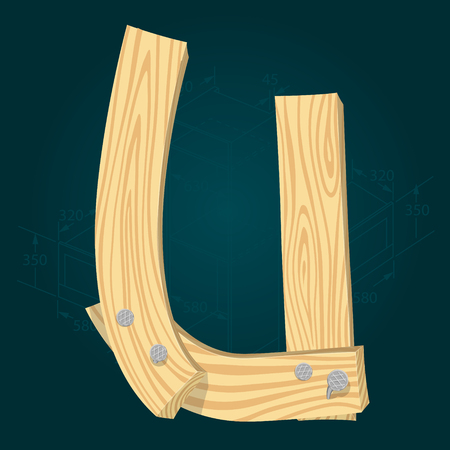 Letter U - stylized vector font made from wooden planks hammered with iron nails. Illustration