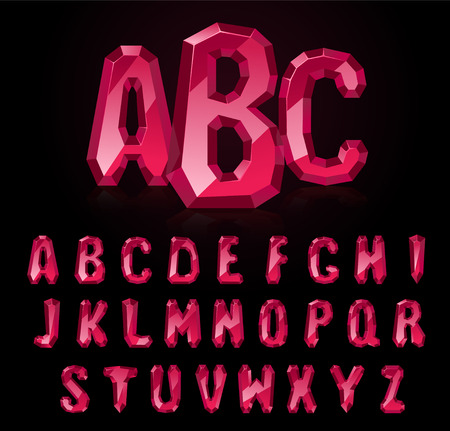 Police rubis. Trésors de l'alphabet. Lettres de pierres précieuses Vecteurs