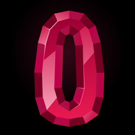 Ruby letter O. Treasures of alphabet. Gemstone letters