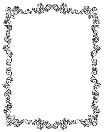 Modello di vettore della cartolina d'auguri dell'ornamento dell'annata. Disegno a carboncino. Cornice fiorita. Sfondo vintage, cornice vintage, ornamento vintage, vettore di ornamenti, cornice ornamentale. Vettoriali