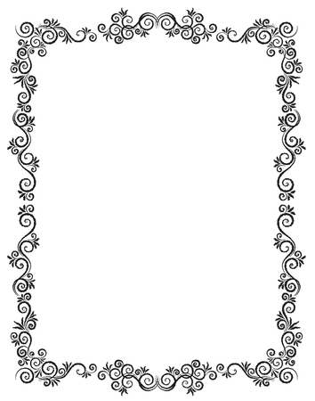 Vintage Ornament Greeting Card Vector Template. Charcoal drawing. Flourishes frame. Vintage Background, Vintage Frame, Vintage Ornament, Ornaments Vector, Ornamental Frame. Vektorové ilustrace