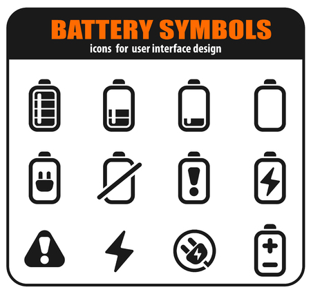 Battery icons set isolated for user interface design. vector illustration