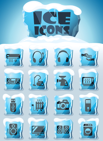 electronics supermarket vector icons frozen in transparent blocks of ice