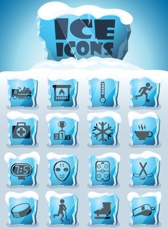ice rink vector icons frozen in transparent blocks of ice