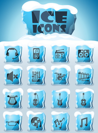 music vector icons frozen in transparent blocks of ice