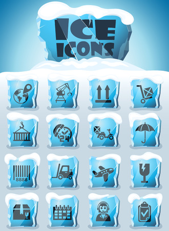 logistic vector icons frozen in transparent blocks of ice Illustration