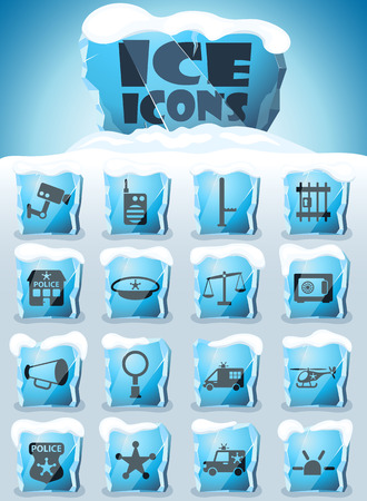 police department vector icons frozen in transparent blocks of ice