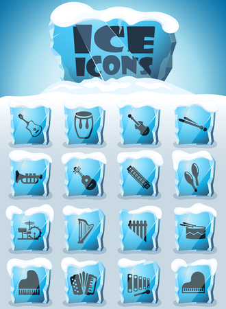 musical instruments vector icons frozen in transparent blocks of ice