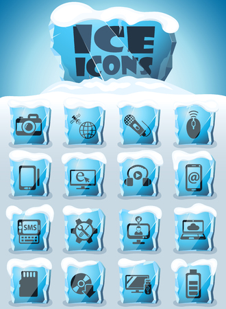 hi tech vector icons frozen in transparent blocks of ice