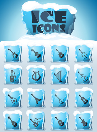 string instruments vector icons frozen in transparent blocks of ice